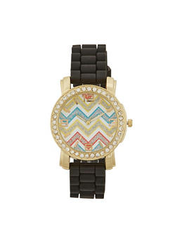Rhinestone Trimmed Watch with Chevron Print - 1140071432260