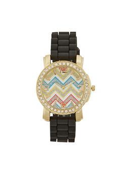 Rhinestone Trimmed Watch with Chevron Print - BLACK - 1140071432260