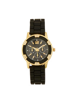Rhinestone and Textured Bezel Watch with Rubber Strap - 1140071432322