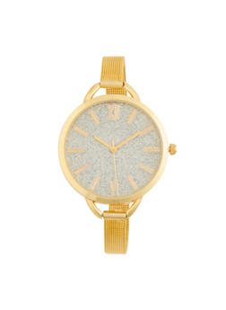 Glitter Face Watch with Metal Mesh Strap - 1140071432512