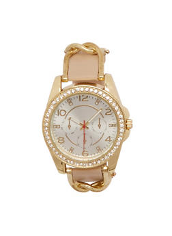 Watch with Studs and Chainlink Trim - TAN - 1140071432520