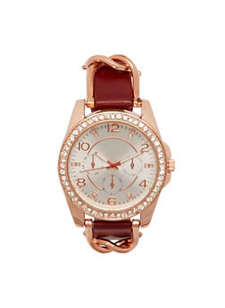 Watch with Studs and Chainlink Trim - MAUVE - 1140071432520