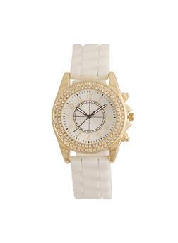 Rubber Strap Watch with Rhinestone Bezel - 1140071432526