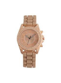 Rubber Strap Watch with Rhinestone Bezel - 1140071432526