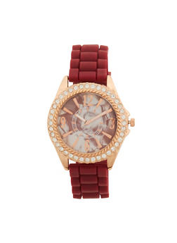 Rhinestone Face Watch with Silicone Strap - 1140071432530