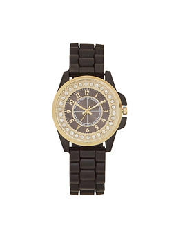 Rubber Watch with Studded Face - BLACK - 1140071432536