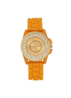 Rubber Watch with Studded Face - ORANGE - 1140071432536