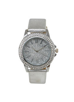 Rhinestone and Glitter Watch with Metallic Band - 1140071432569