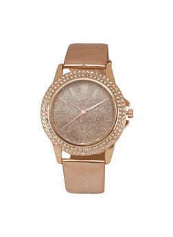 Rhinestone and Glitter Watch with Metallic Band - ROSE - 1140071432569