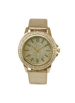 Rhinestone and Glitter Watch with Metallic Band - GOLD - 1140071432569