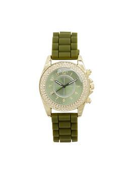 Woven Rubber Strap Rhinestone Bezel Watch - 1140071432578