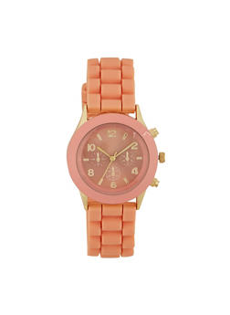 Rubber Watch with Dyed Metal Bezel - BLUSH - 1140071432588