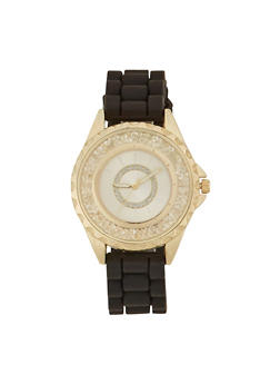Woven Rubber Strap Watch with Notched Bezel - 1140071432800