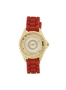 Woven Rubber Strap Watch with Notched Bezel - RED - 1140071432800