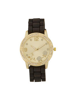 Rubber Watch with Rhinestone Bezel and Face - 1140071432810