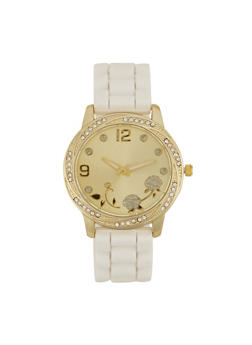 Rubber Watch with Rhinestone Bezel and Face - WHITE - 1140071432810