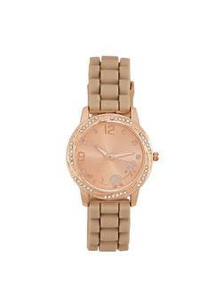 Rubber Watch with Rhinestone Bezel and Face - TAN - 1140071432810