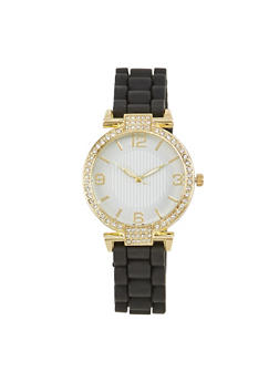 Round Face Watch with Rhinestones - BLACK - 1140071432830