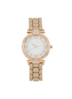Round Face Watch with Rhinestones - TAN - 1140071432830