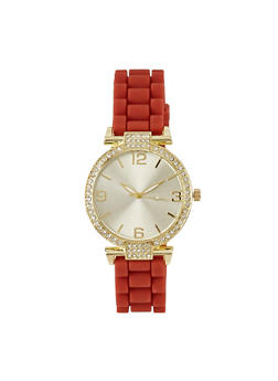 Round Face Watch with Rhinestones - RED - 1140071432830
