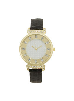 Round Metal Watch with Faux Snakeskin Embossed Strap - 1140071432840
