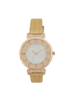 Round Metal Watch with Faux Snakeskin Embossed Strap - TAN - 1140071432840