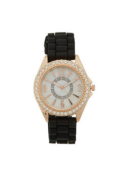 Woven Rubber Strap Watch with Rhinestone Bezel - BLACK - 1140071432850
