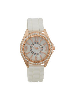 Woven Rubber Strap Watch with Rhinestone Bezel - WHITE - 1140071432850