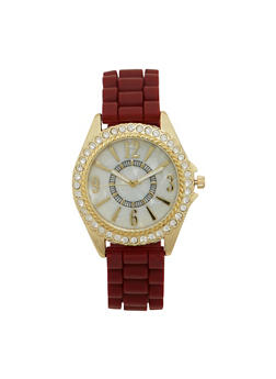 Woven Rubber Strap Watch with Rhinestone Bezel - 1140071432850