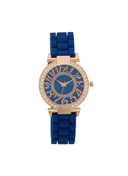 Woven Rubber Strap Watch with Large Numbers - NAVY - 1140071432860