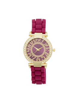 Woven Rubber Strap Watch with Large Numbers - PURPLE - 1140071432860