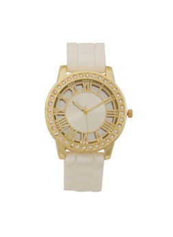 Roman Numeral Rhinestone Bezel Watch with Rubber Wristband - 1140071432900