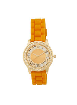 Roman Numeral Rhinestone Bezel Watch with Rubber Wristband - 1140071432900
