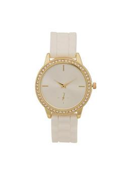 Rhinestone Bezel Watch with Rubber Strap - 1140071432902