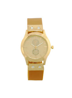 Rubber Strap Rhinestone Accented Watch - 1140071432911