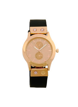 Rubber Strap Rhinestone Accented Watch - 1140071432911