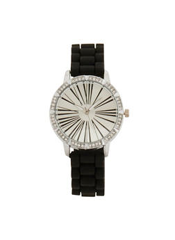 Rhinestone Face Watch with Silicone Strap - 1140071432913