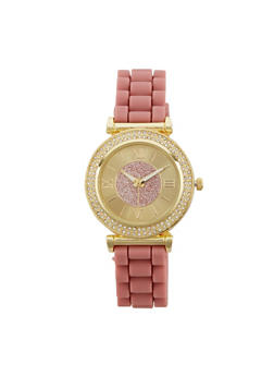 Roman Numeral Rhinestone Rubber Strap Watch - 1140071432914