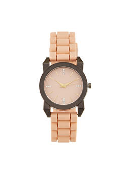 Metallic Rhinestone Rubber Watch - 1140071432915