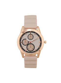 Metallic Silicone Strap Watch - BLUSH - 1140071432918