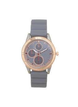 Metallic Silicone Strap Watch - GREY - 1140071432918