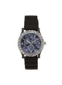 Rhinestone Bezel Rubber Strap Watch - 1140071432919