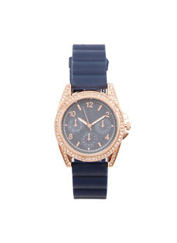 Rhinestone Bezel Rubber Strap Watch - NAVY - 1140071432920