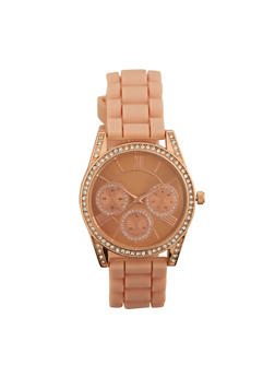 Rhinestone Bezel Rubber Strap Watch - 1140071432921