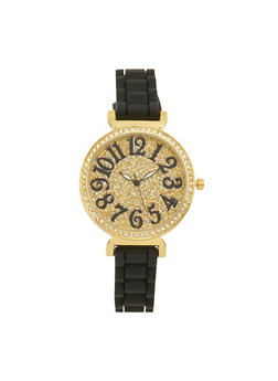 Glitter Rhinestone Watch with Woven Rubber Strap - 1140071432923