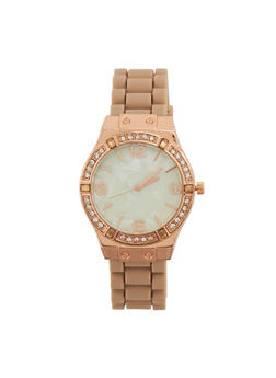 Rubber Strap Rhinestone Bezel Watch - BLUSH - 1140071432926