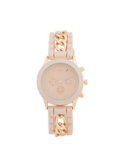 Chain Detail Rubber Strap Watch - 1140071432927