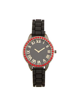 Rhinestone Bezel Rubber Strap Watch - BLACK - 1140071432928