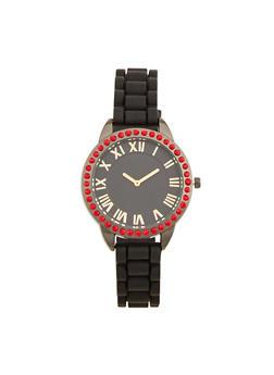 Rhinestone Bezel Rubber Strap Watch - 1140071432928