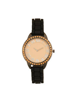 Rhinestone Bezel Rubber Strap Watch - PEACH - 1140071432928